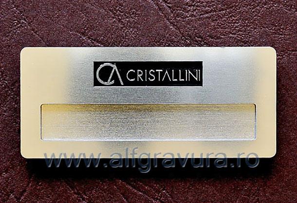 Ecuson magnet aluminiu 70x30 mm