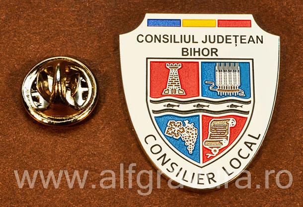 Insigna placata cu nichel Consilier Local Bihor