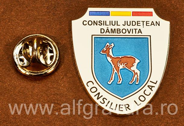 Insigna placata cu nichel Consilier Local Dambovita
