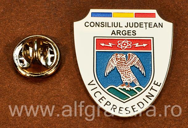 Insigna placata cu nichel Vicepresedinte Consiliul Local Arges