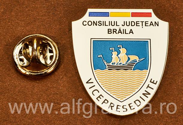 Insigna placata cu nichel Vicepresedinte Consiliul Local Braila