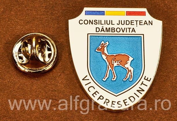 Insigna placata cu nichel Vicepresedinte Consiliul Local Dambovita