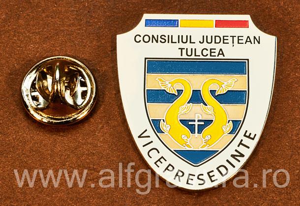 Insigna placata cu nichel Vicepresedinte Consiliul Local Tulcea