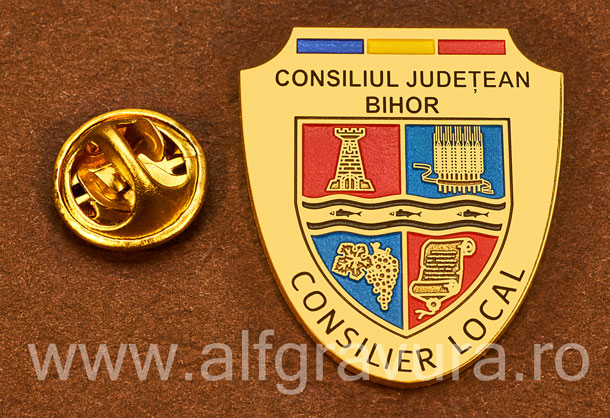 Insigna placata cu aur Consilier Local Bihor