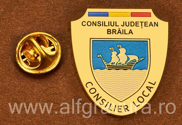 Insigna placata cu aur Consilier Local Braila