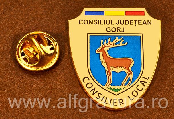 Insigna placata cu aur Consilier Local Gorj