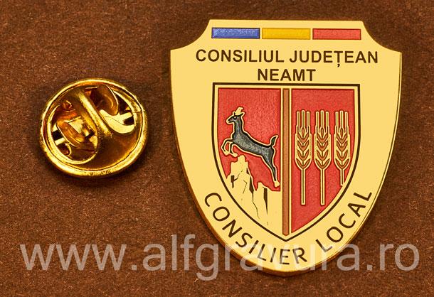 Insigna placata cu aur Consilier Local Neamt