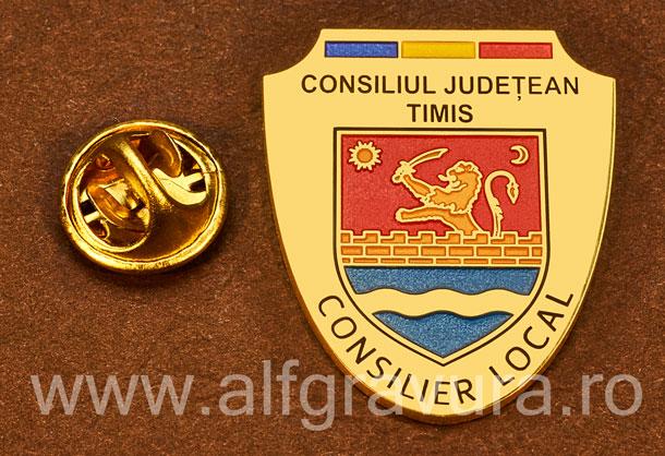 Insigna placata cu aur Consilier Local Timis