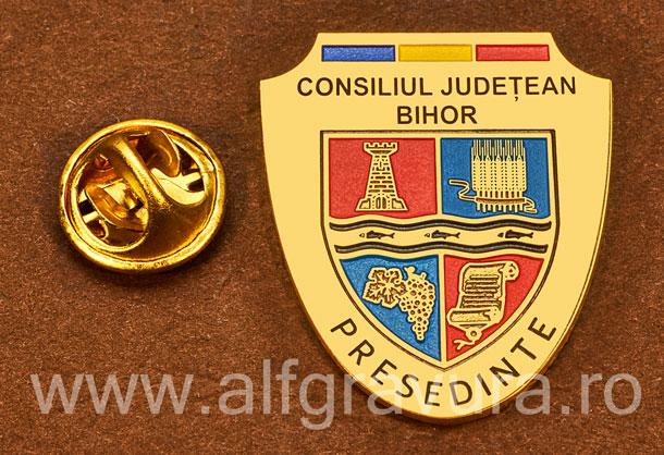 Insigna placata cu aur Presedinte Consiliul Local Bihor