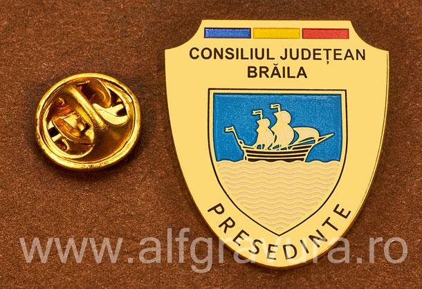 Insigna placata cu aur Presedinte Consiliul Local Braila