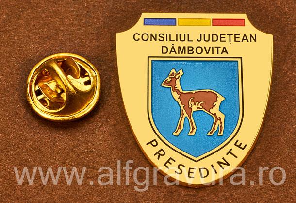 Insigna placata cu aur Presedinte Consiliul Local Dambovita