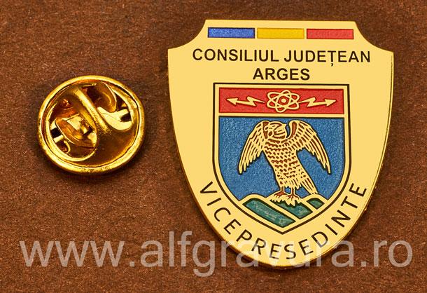 Insigna placata cu aur Vicepresedinte Consiliul Local Arges