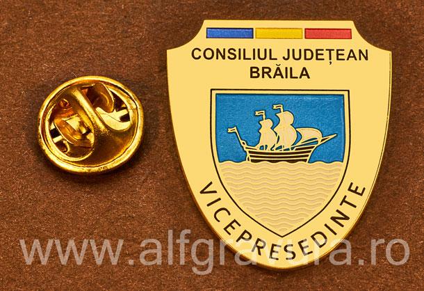 Insigna placata cu aur Vicepresedinte Consiliul Local Braila