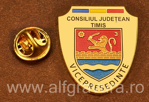 Insigna placata cu aur Vicepresedinte Consiliul Local Timis