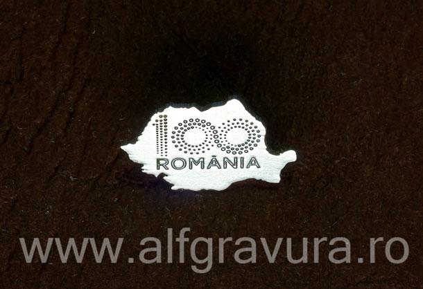 Insigna harta 100 Romania argintata