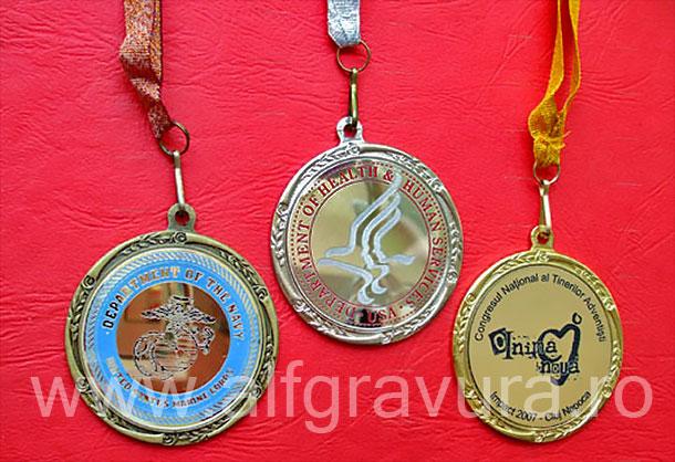 Medalii aur, argint, bronz, cu panglica