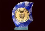 Trofee sticla pictata albastra